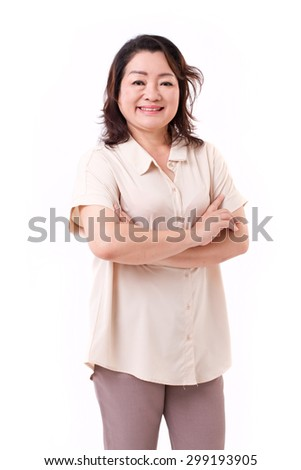 happy middle aged asian woman - stock photo