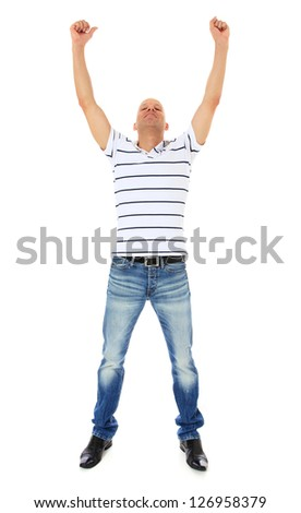 Happy middle aged man. All on white background. - stock photo