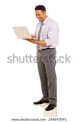 happy middle aged man using laptop on white background - stock photo