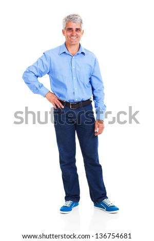 happy middle aged man with hand on hip isolated against white background