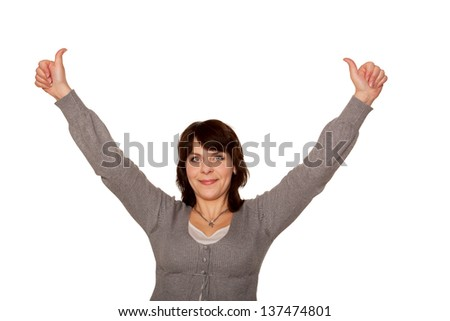 Happy middle-aged woman showing thumbs up sign and raising hands up. Isolated on white background - stock photo