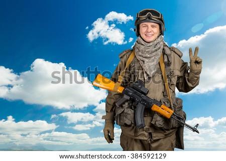 Happy Military Man - stock photo