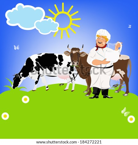 Happy Milkman and Dairy Cows on a green meadow.Sticker Natural Milk Product - stock photo