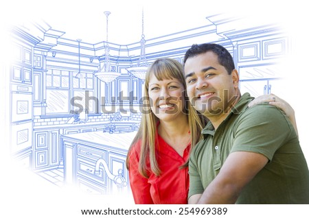 Happy Mixed Race Couple Over Custom Kitchen Design Drawing on White. - stock photo