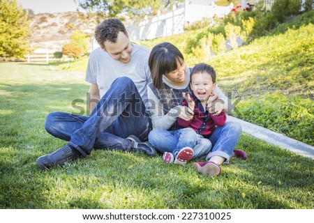 Happy Mixed Race Family Having Fun Outside on the Grass.