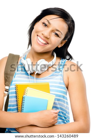Happy mixed race student back to school isolated on white background