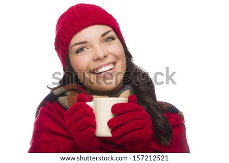 Happy Mixed Race Woman Wearing Winter Hat and Gloves Holds a Mug Isolated on White Background.