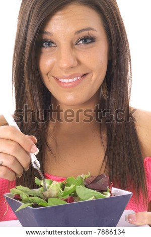 happy model eating healthy