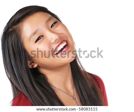 Happy model expressing joy and enthusiasm - stock photo