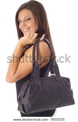 happy model with purse - stock photo