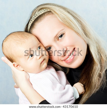 Happy mom and baby