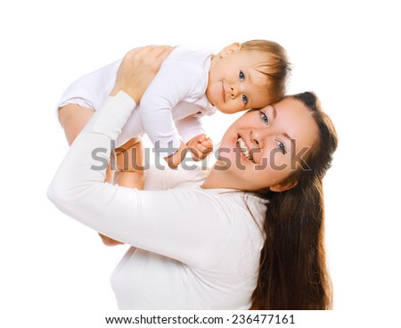 Happy mom and baby having fun together  - stock photo