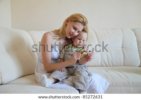 Happy mom and son