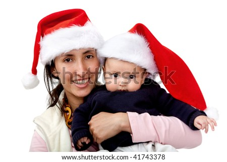 Happy mom and son with Santa hat isolated on white
