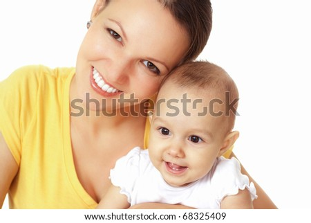 happy mom holds  baby on a white background