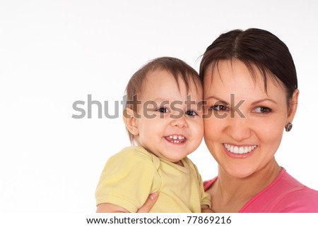 happy mom with her daughter on white