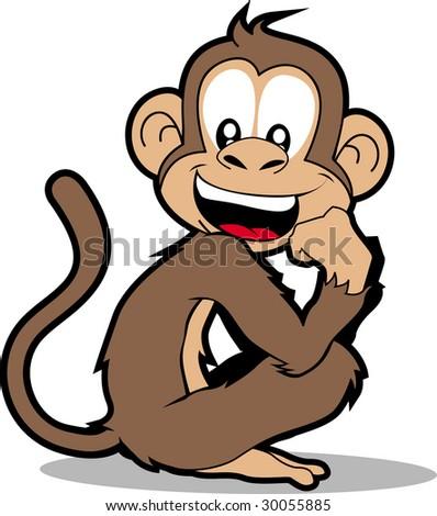 Happy Monkey. Isolated on white. - stock photo