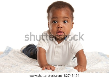 happy 6-month old African American baby boy portrait - stock photo