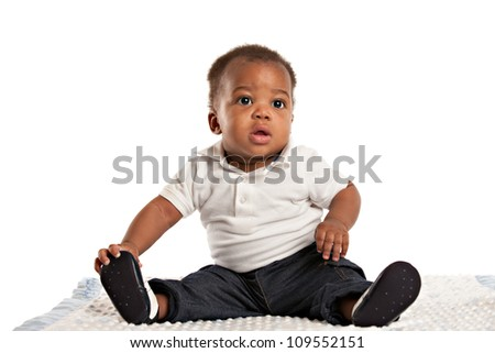 happy 3-month old African American baby boy Sit portrait - stock photo