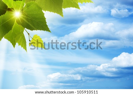 Happy morning. Abstract natural backgrounds against blue skies - stock photo