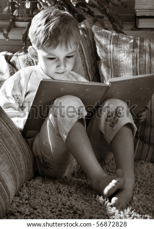 Happy morning of little boy - stock photo