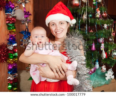 Happy mother and baby posing for  Christmas portrait at home