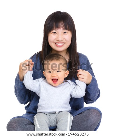 Happy mother and baby son - stock photo