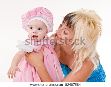 happy mother and child on a white background.happiness of maternity