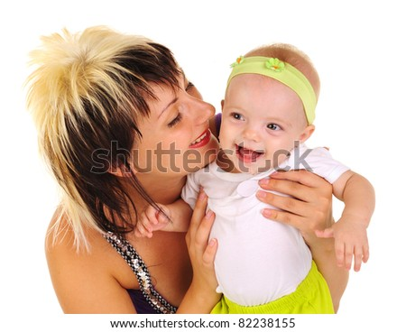 happy mother and child on a white background.motherhood.