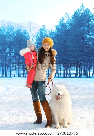 Happy mother and child walking with white Samoyed dog in winter day - stock photo