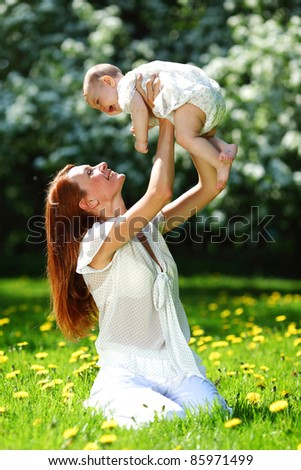 Happy mother and daughter - stock photo