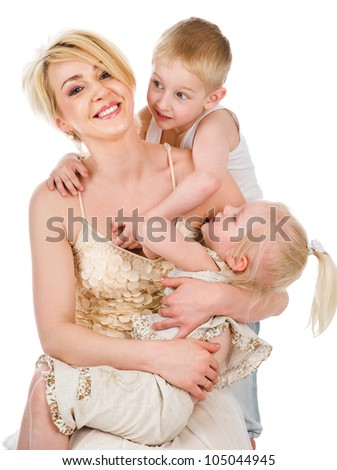 Happy mother and daughter. and son. isolated on white background - stock photo