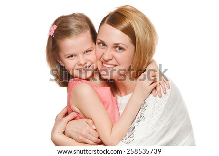Happy mother and daughter hugging, isolated on white background