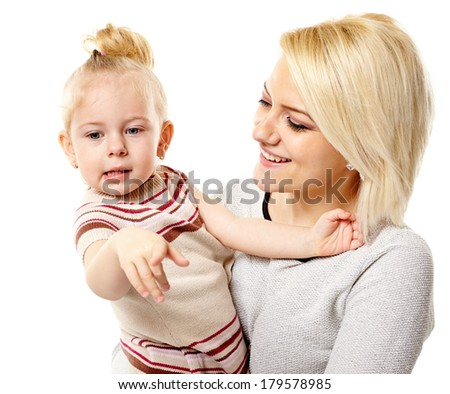 Happy mother and daughter isolated on white background - stock photo