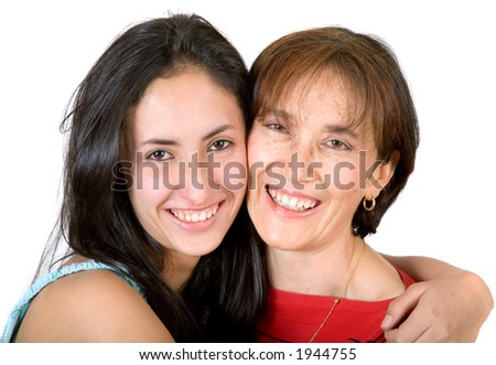 happy mother and daughter over white