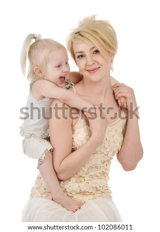 Happy mother and daughter playing. isolated on white background - stock photo