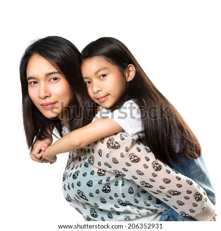 Happy mother and daughter playing, Isolated over white - stock photo