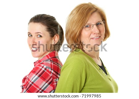 happy mother and daughter standing back to back, isolated on white