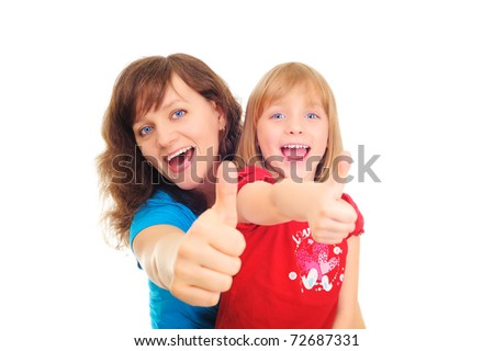 Happy mother  and dauther showing okay sign isolated over white - stock photo
