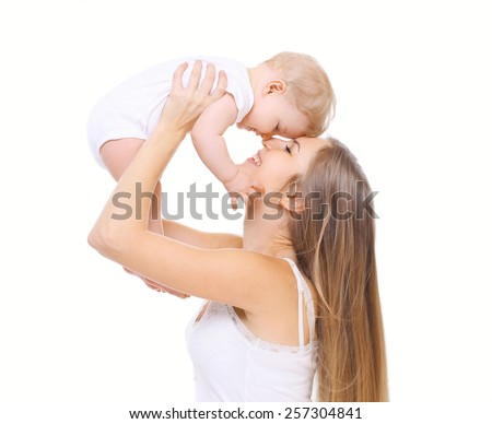 Happy mother and her baby have fun together - stock photo