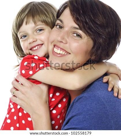 happy mother and her daughter - close up - stock photo