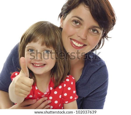 happy mother and her daughter - white background
