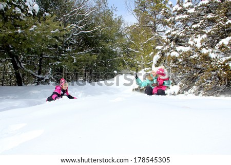 Happy mother and her daughters playing in the winter park - stock photo