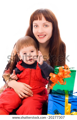 happy mother and her little son with a lot of presents isolated against white background - stock photo