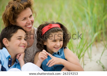 Happy mother and kids - stock photo