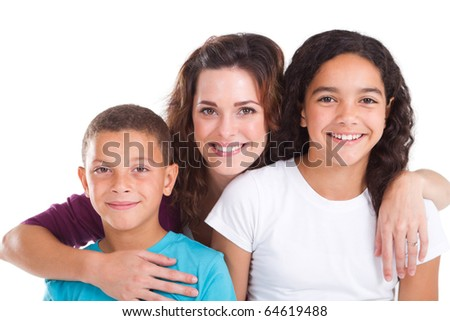 happy mother and kids over white