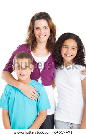 happy mother and kids over white - stock photo