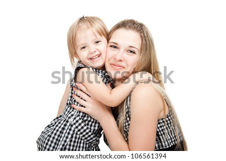happy mother and little daughter hugging smile looking at the camera isolated over white background, concept of togetherness family love 2 year cute girl child embrace