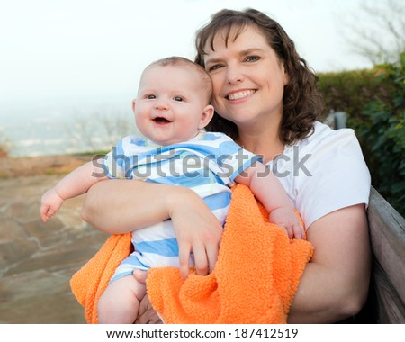 Happy mother and son enjoying outdoors on park on top of mountain in Chattanooga - stock photo