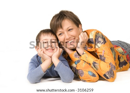 Happy mother and son isolated on white background - stock photo